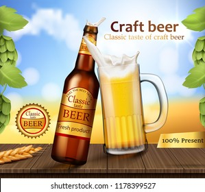 realistic brand labeled brown glass bottle and mug with foamy beer stand on wooden table with barley ears and hops near the grass field. Poster template for classic craft beer ad package design
