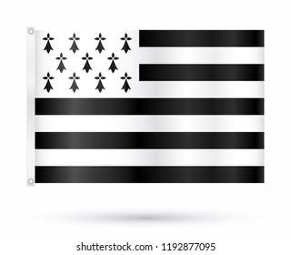 Realistic breton flag isolated on white background