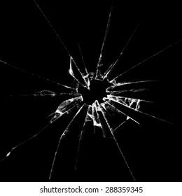 Realistic  broken glass black background destruction illustration. Raster version