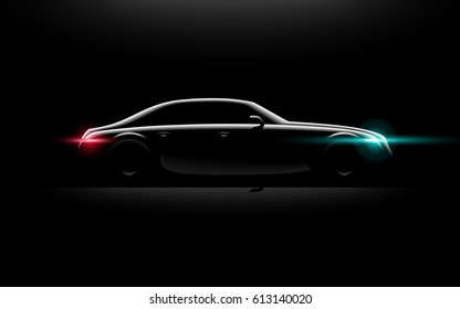 Realistic business luxury prestige car lit in the dark