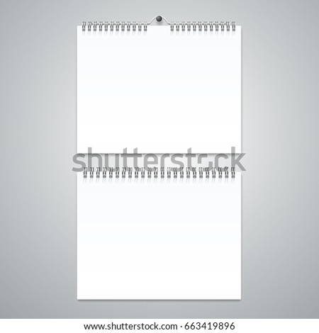 Realistic Calendar Template Blank Set Empty Stock Illustration
