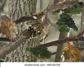 Realistic camouflage print. Seamless pattern. Oak tree, branches and leaves. Useable for hunting and military purposes.