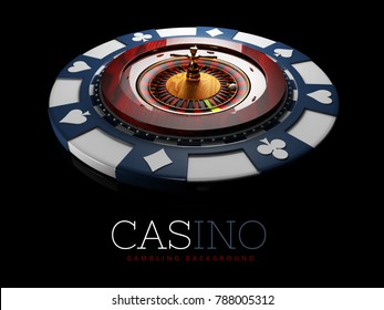Realistic casino gambling roulette wheel with chip. 3d play chance luck roulette wheel illustration