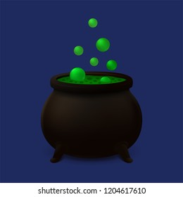 Realistic cauldron with boiling green slime and flying bubbles.