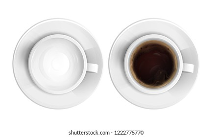 realistic ceramic cup full of hot cappuccino, coffee or chocolate and empty one top view set. 3d morning breakfast drink or beverage mug for cafe, restaurant design. Isolated illustration