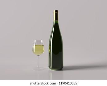 Realistic Champagne Bottle. 3D rendering