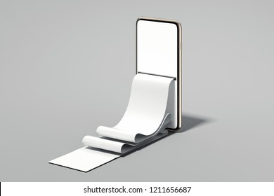 Realistic check on mobile phone screen on grey background. Online shopping and paying concept. 3d rendering.