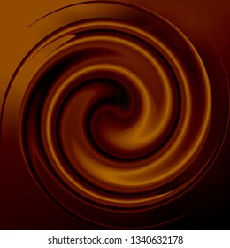 Realistic chocolate or coffee whirlwind Golden brown color. Whirl of cacao candy milk. Swirl of molten of chocolate mousse gloss. Rasterized version