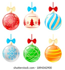 Realistic christmas balls illustration. Set of balls symbols isolated on white background in flat design. Colored christmas balls with snowflakes and different drawings