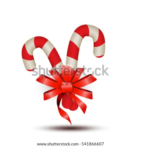 Realistic Christmas Peppermint Candy Cane With Stripes Red Ribbon Shiny Bow Snow Isolated On