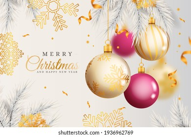 realistic christmas white background gives royal look with golden and pink balls