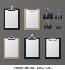 Realistic clipboards with blank white paper sheet. Notepad information board illustration