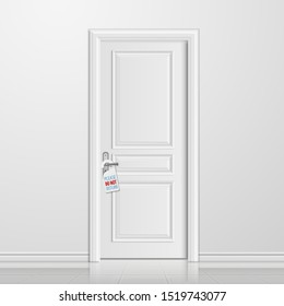 realistic closed white entrance door with do not disturb blank