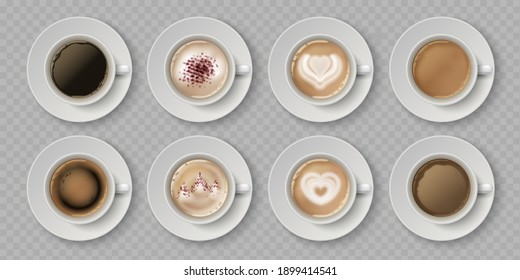 Realistic coffee cup. Top view of milk creams in cup with espresso cappuccino or latte, 3d isolated cafe mugs.  illustration coffee drink with image on foam in white cups set on transparent
