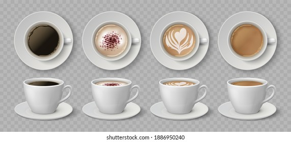 Realistic coffee cups. Espresso latte and cappuccino hot beverages, 3D mockup front and top views.  illustration isolated black coffee drink set on transparent background