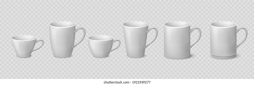 Realistic coffee mug. Blank ceramic white cup mockups isolated on transparent background, 3D porcelain teacup.  isolate illustration mock up clean coffee or tea drinking cups set