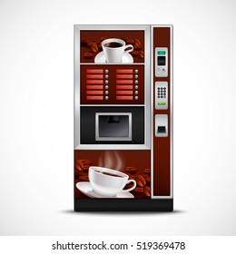Realistic coffee vending machine with cups saucers and roasted grains on white background isolated  illustration
