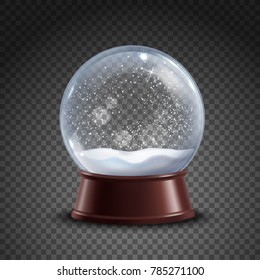 Realistic colored snow globe composition on transparent background with shadows and lights  illustration