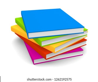 Realistic colorful blank books isolated on white background. 3d illustration