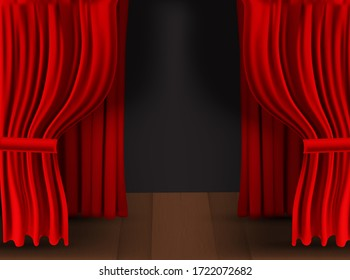 Realistic colorful red velvet curtain folded on a transparent background. Option curtain at home in the cinema.  Illustration.