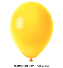 Realistic colorful yellow balloon, isolated on white background, raster illustration