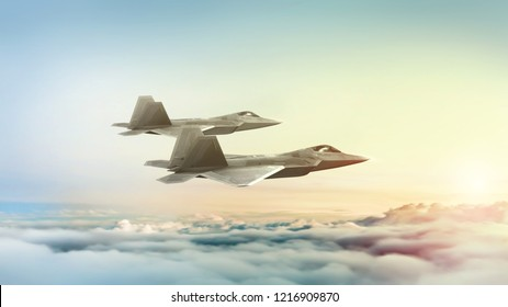 Realistic computer generated image of 2 fighter jets flying at dusk or sunrise. 3D rendering or illustration