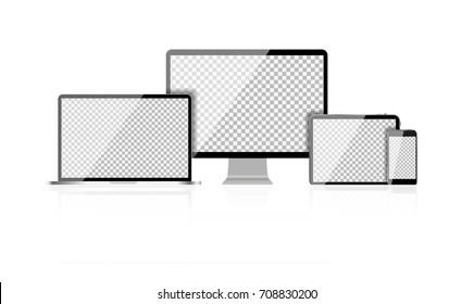 Realistic Computer Laptop, Mobile Phone, Tablet PC with Abstract Transperent Wallpaper on Screen Isolated on White Background.  Illustration