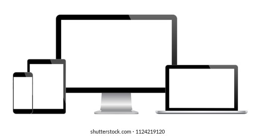 Realistic Computer, Laptop, Tablet and Smart Phone with blank screen Isolated on white background. Set of Device Mockup 3d rendering