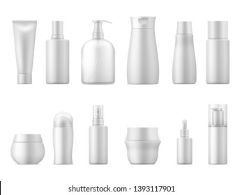 Realistic cosmetic package. Product bottle pack 3D white plastic lotion tube shampoo container blank empty package. Beauty set