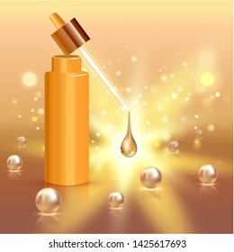 Realistic cosmetic tube with gold drop and pearls. Ad concept for collagen or moisturizing creme or liquid. Background with lighting effect.