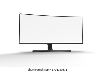Realistic curved wide screen monitor 3D rendering mockup isolated