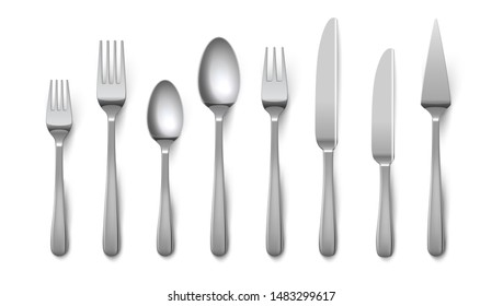 Realistic cutlery. Silverware fork knife spoon isolated on white background, stainless steel tableware flatware.  metal top view cutlery