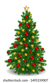 Realistic decorated Christmas tree with red ornaments and light bauble isolated on white background.