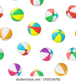 Realistic Detailed 3d Beach Ball Seamless Pattern Background on a White Plastic Summer Toy Symbol of Game, Sport or Fun. illustration