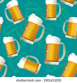 Realistic Detailed 3d Beer Mug with Froth Seamless Pattern Background for Pub, Restaurant, Bar or Party. illustration