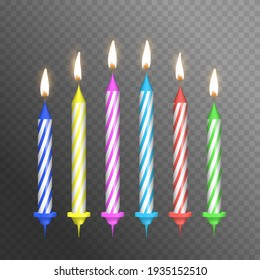 Realistic Detailed 3d Birthday Cake Candles Set on a Background Symbol of Happy Party. illustration