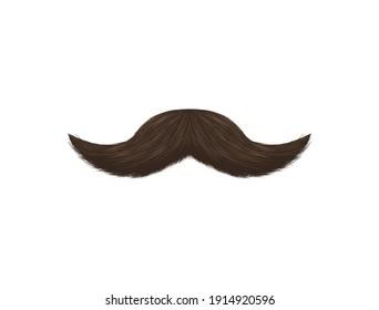Realistic Detailed 3d Black Fake Mustache Closeup View Decoration Element Fashion Retro Style. illustration