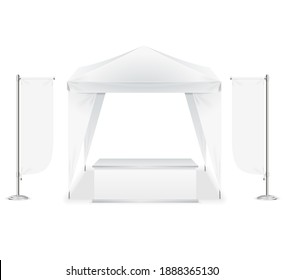 Realistic Detailed 3d Blank Empty Template Outdoor Event Tent Set for Marketing and Advertising. illustration of White Pavilion