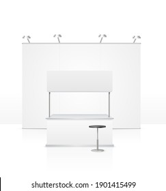 Realistic Detailed 3d Blank Empty Template Stand Set for Marketing and Presentation Business Concept. illustration of Construction Elements