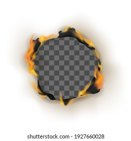Realistic Detailed 3d Burn Empty Hole Paper Isolated on White Background Decoration Element or Frame Edge in Fire. illustration