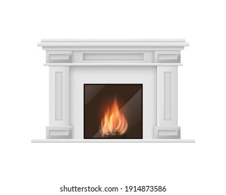 Realistic Detailed 3d Classic Fireplace Isolated on White Background Traditional Decoration Interior Symbol of Hearth. illustration of Comfort