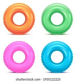 Realistic Detailed 3d Color Inflatable Swim Rings Set for Safety Swimming and Rescue in Water. illustration of Lifebuoy