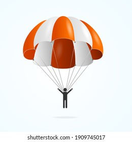 Realistic Detailed 3d Color Parachute and Black Silhouette Person Isolated on a White Background. illustration of Parachutist Activity Man