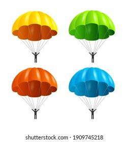 Realistic Detailed 3d Color Parachute and Black Silhouette Person Set Extreme Sport Concept. illustration of Parachutist