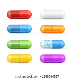 Realistic Detailed 3d Color Pills and Vitamins Set Pharmaceutical Dose. illustration of Colorful Pill and Vitamin