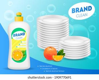 Realistic Detailed 3d Dishwashing Liquid Soap Bottle Ads Promotion Concept Card. illustration of Household Hygiene Product