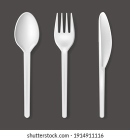 Realistic Detailed 3d Disposable White Plastic Cutlery Set Include of Spoon, Knife and Fork for Picnic. illustration