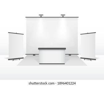 Realistic Detailed 3d Exhibition Stand Design Set Roll Up Banner Template Clean White Mock Up Closeup View. illustration