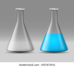 Realistic Detailed 3d Glass Chemical Laboratory Flask Set Equipment for Test and Experiment Full or Empty. illustration