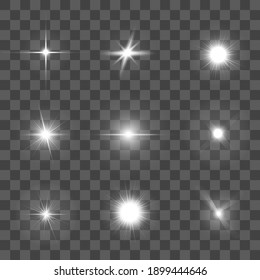 Realistic Detailed 3d Glowing Light Set Stars and Sparkles Decorative Elements for Web. illustration of Lights